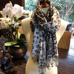 Accessories - Leopard Print Scarf with Fringe